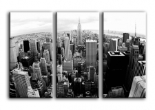 Quadro moderno Skyline di New York Bianco e Nero 3 tele